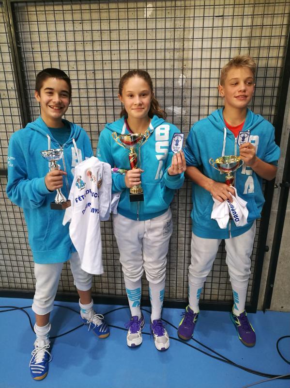 De Droite à gauche, Killian PRADAL et Soline VAILLANT, champions de ligue et Niels PAULETTO, 3ème.